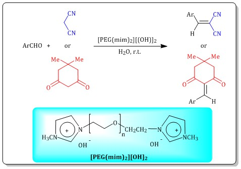 Preparation and characterization of polyethylene glycol-bis(N-methylimidazolium) dihydroxide as a basic phase-transfer catalyst and its application in Knoevenagel condensation under aqueous media