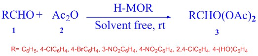 H-mordenite zeolite as an efficient, rapid and recyclable catalyst for chemoselective synthesis of 1,1-diacetates under solvent-free conditions