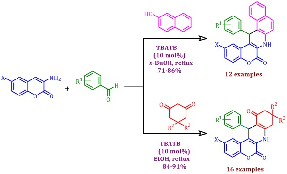 Synthesis of benzo[f]chromeno[3,4-b]quinoline-6-ones and chromeno[3,4-b]quinoline-6,11-diones via one-pot three-component tandem Knoevenagel–Michael reaction catalyzed by n-Tetrabutylammonium tribromide